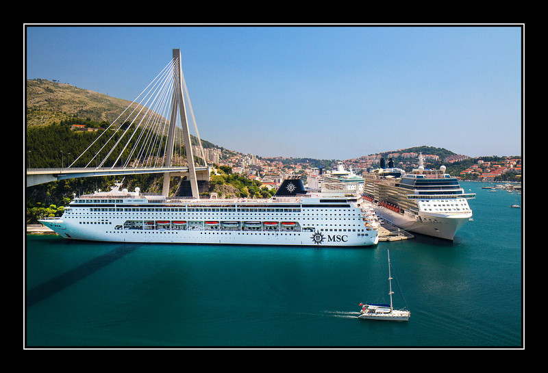 IMAGE: http://rpcrowe.smugmug.com/Other/Dubrovnic/i-gq3sd4K/0/L/Dubrovnik%20cruise%20ships%20and%20bridge-L.jpg