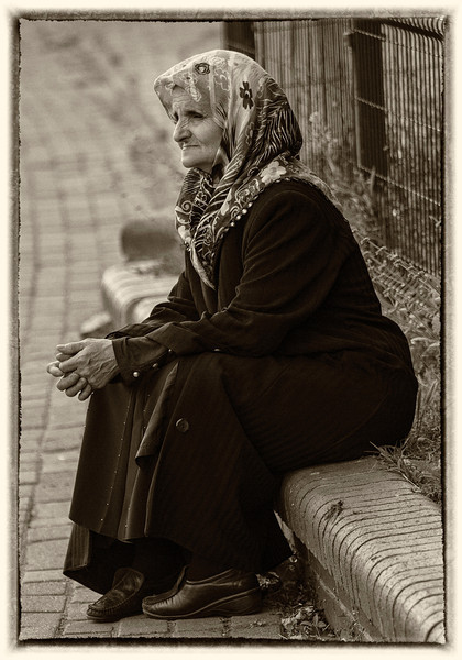 Old woman in sepia - worth changing?