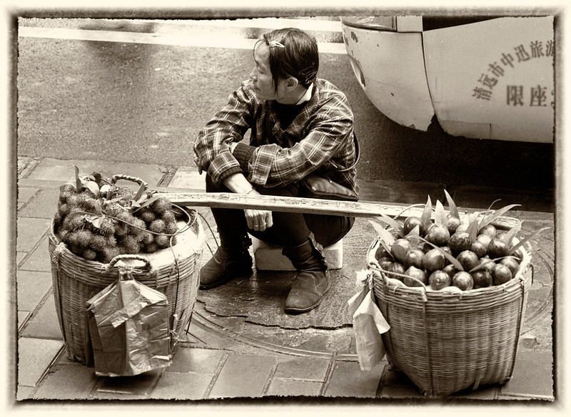 Vendor in monochrome